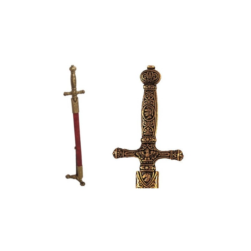 Letter opener Napoleon's sword with scabbard and support (29cm)
