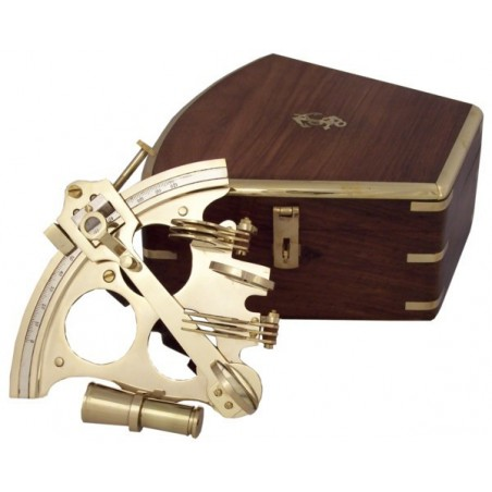 Brass sextant 20cm with wooden box