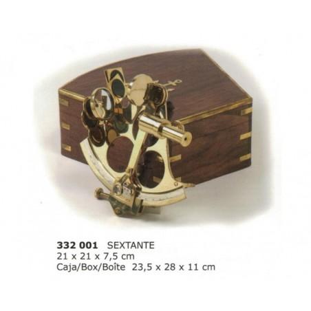 Sextante latón de 21cm con caja madera