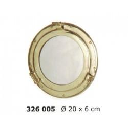 Espejo portillo de latón pulido Ø20 cm