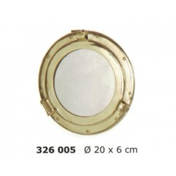 Polished brass porthole mirror ø20cm