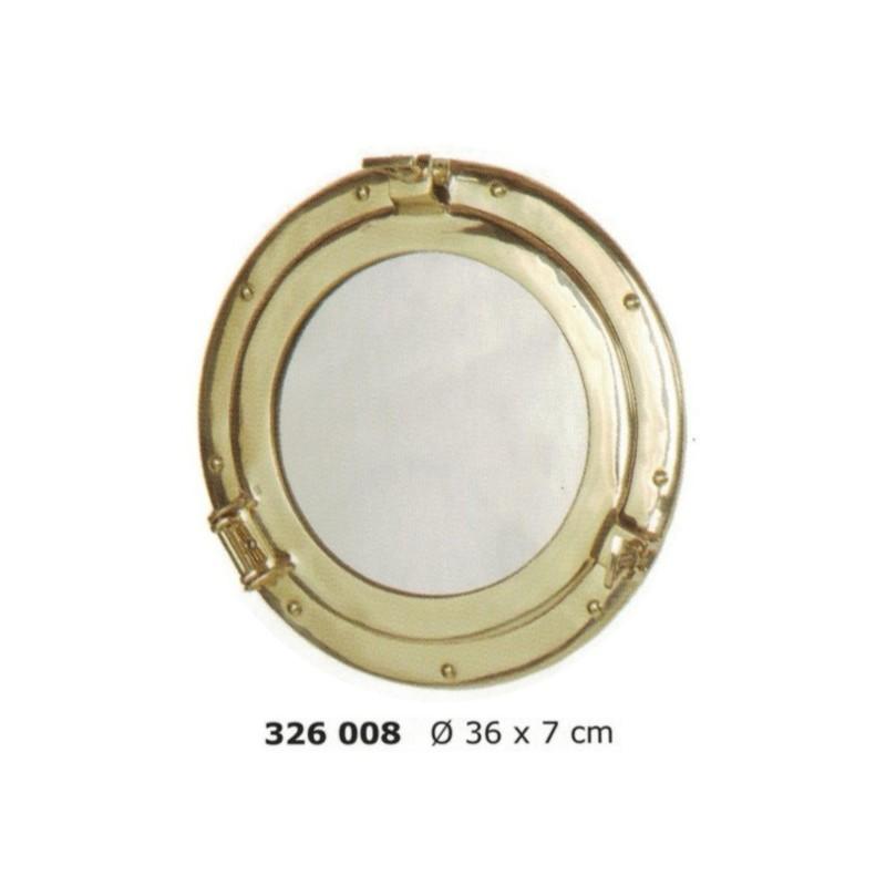 Espejo portillo de latón pulido Ø36 cm