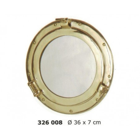 Polished brass porthole mirror ø36cm
