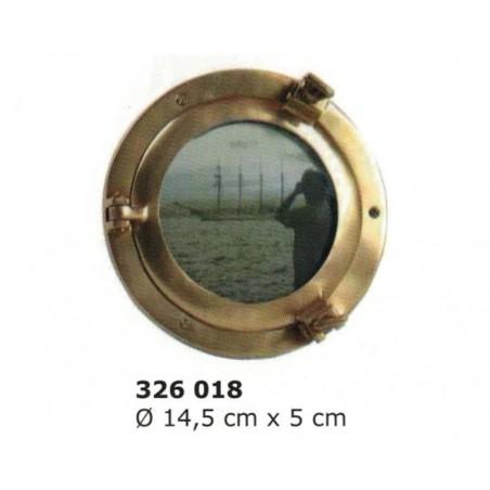 Portafotos ojo buey de latón ø14 cm