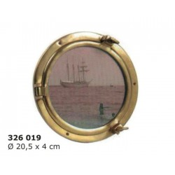 Brass porthole photo frame Ø20 cm