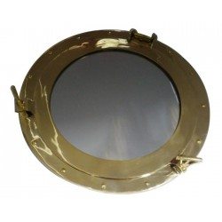 Brass porthole with mirror ø44cm