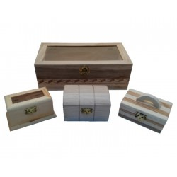 Set de cajas de madera: 1 grande + 3 pequeñas