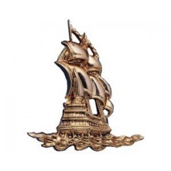 Gilded ABS sailboat - 120x130x12mm