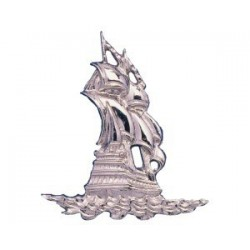 Silvered ABS sailboat - 120x130x12mm