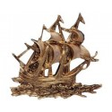 Gilded ABS sailboat - 145x130x12mm