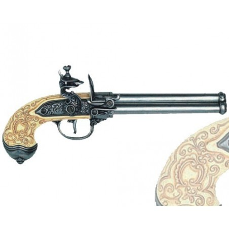 Flintlock pistol with 3 barrels, Italy 1680