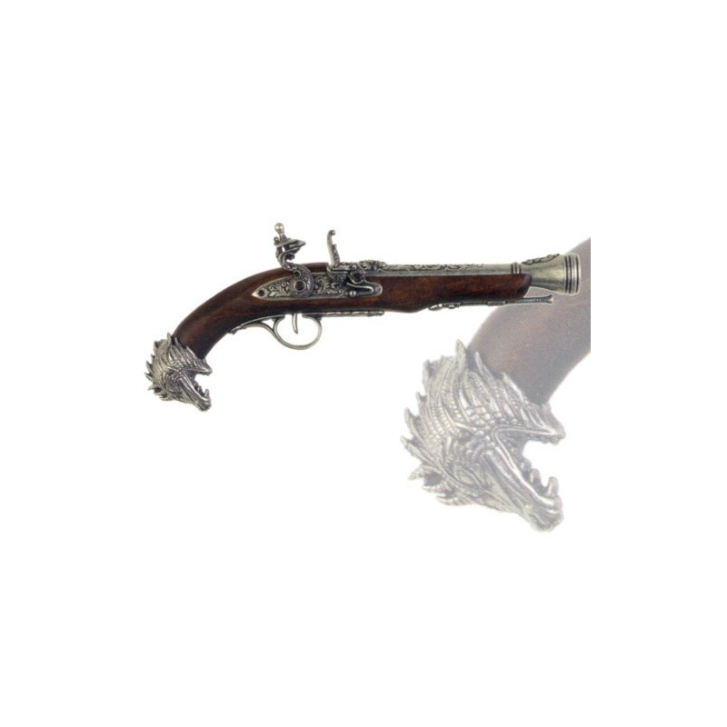 Pirate flintlock pistol, 18th century (39cm)