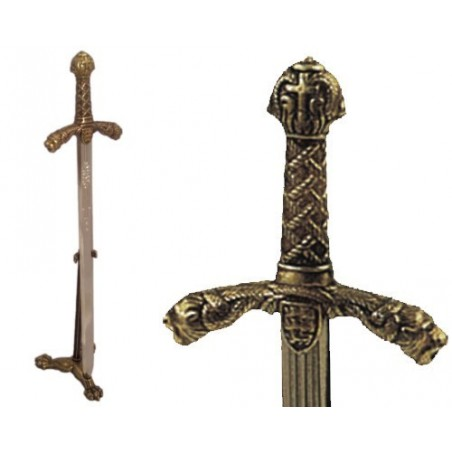 Letter opener Richard the Lionheart sword with stand (24cm)