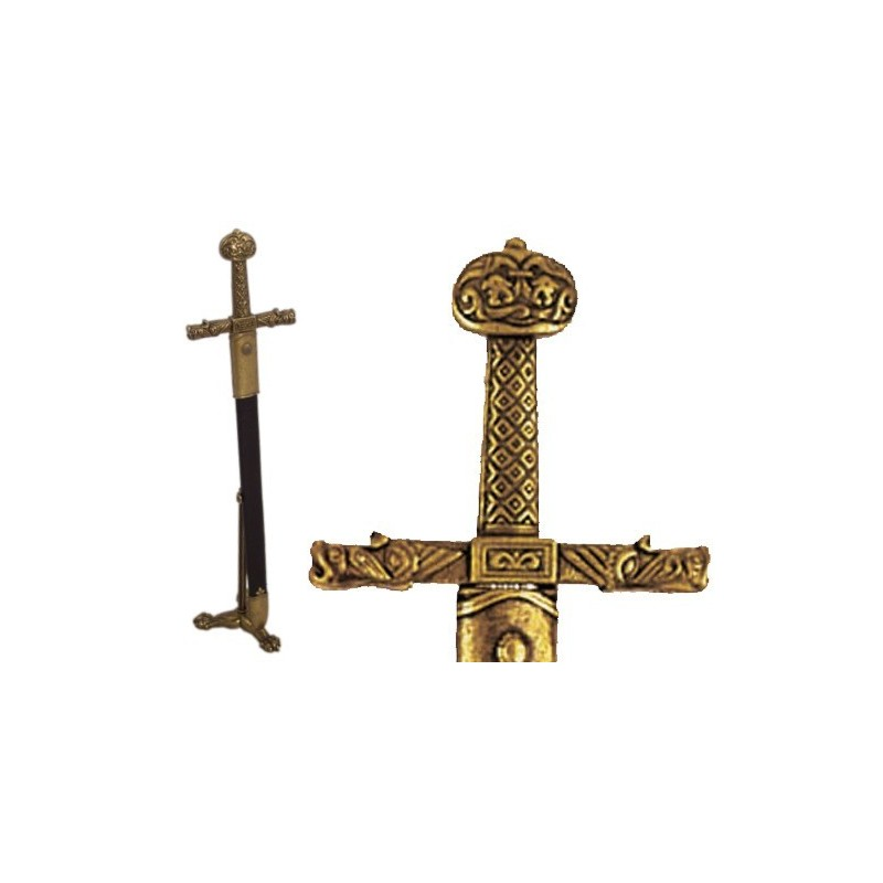Charlemagne sword letter opener with scabbard and support (26cm)