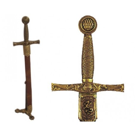 Letter opener Excalibur sword with scabbard and support (27cm)