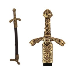 Letter opener Richard the Lionheart sword with scabbard and stand (27cm)