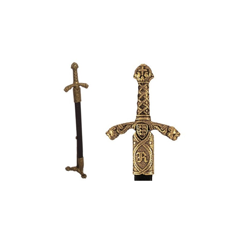 Letter opener Richard Lionheart sword with scabbard and stand (27cm)