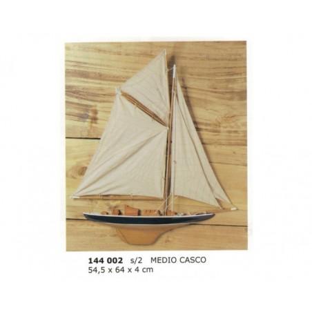 Half hull sailing boat 64x54x4cm