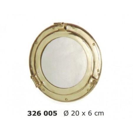 Polished brass porthole mirror ø20cm