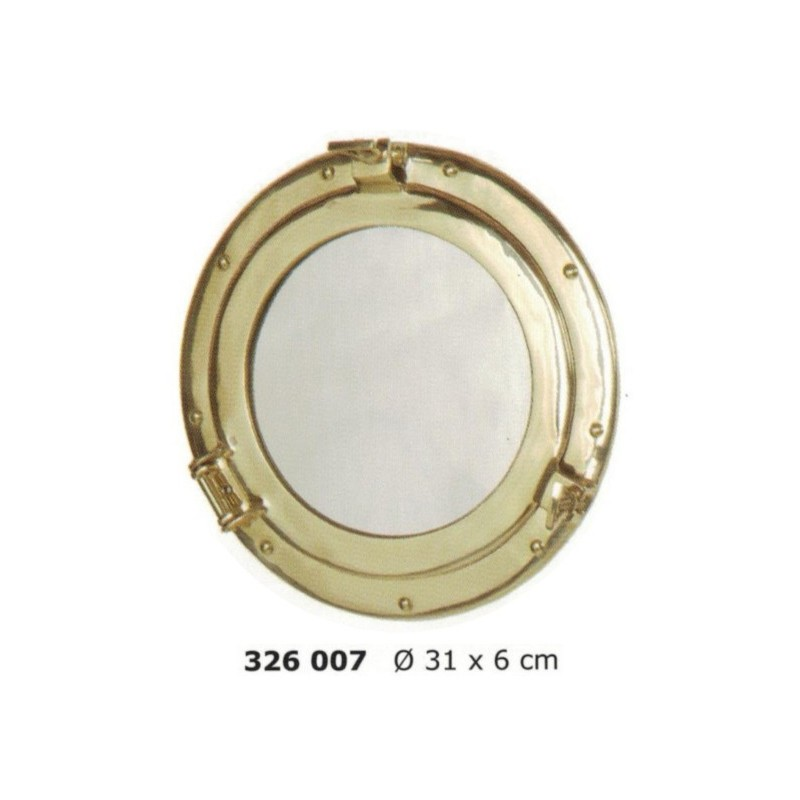 Polished brass porthole mirror ø31cm