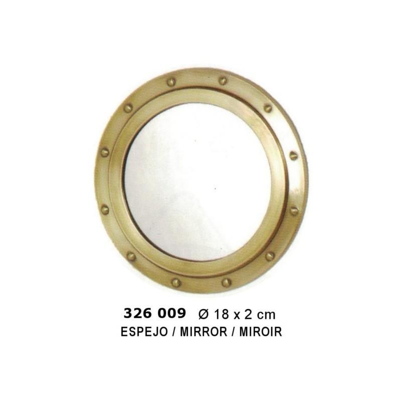 Brass round porthole ø18cm with mirror