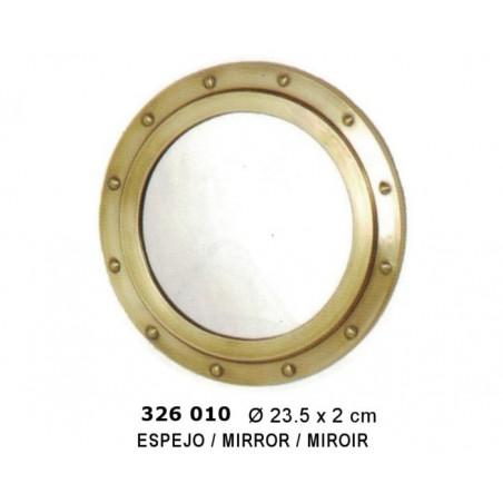 Mirror-window of brass ø23 cm