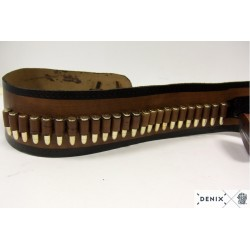 Leather cartridge belt with 2 revolvers and 24 bullets