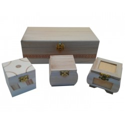 Set of wooden boxes: 1 large + 3 small