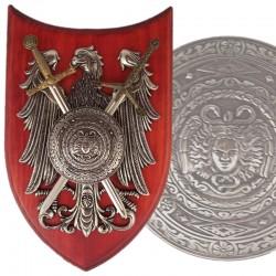 Panoplia con escudo y 2 espadas