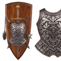 Panoplia con coraza, espada y 2 mayales