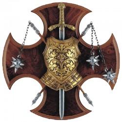 Panoplia con coraza, espada y 2 manguales