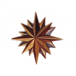 Rosa vientos de madera, hecha a mano, miniatura