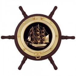 Rudder wheel with brass sailboat
