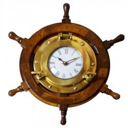 Rudder wheel of wood 33m, with brass clock 15cm