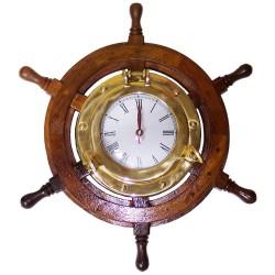 Rueda de timón madera 40cm, con reloj latón 18cm