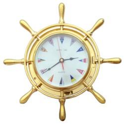 Reloj en timón de latón con banderas de señales náuticas 34x7cm