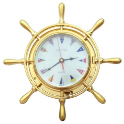 Rudder wheel watch of polished brass with ICS flags 34x7cm