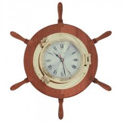 Reloj ojo buey latón 22cm en rueda de timón 48cm