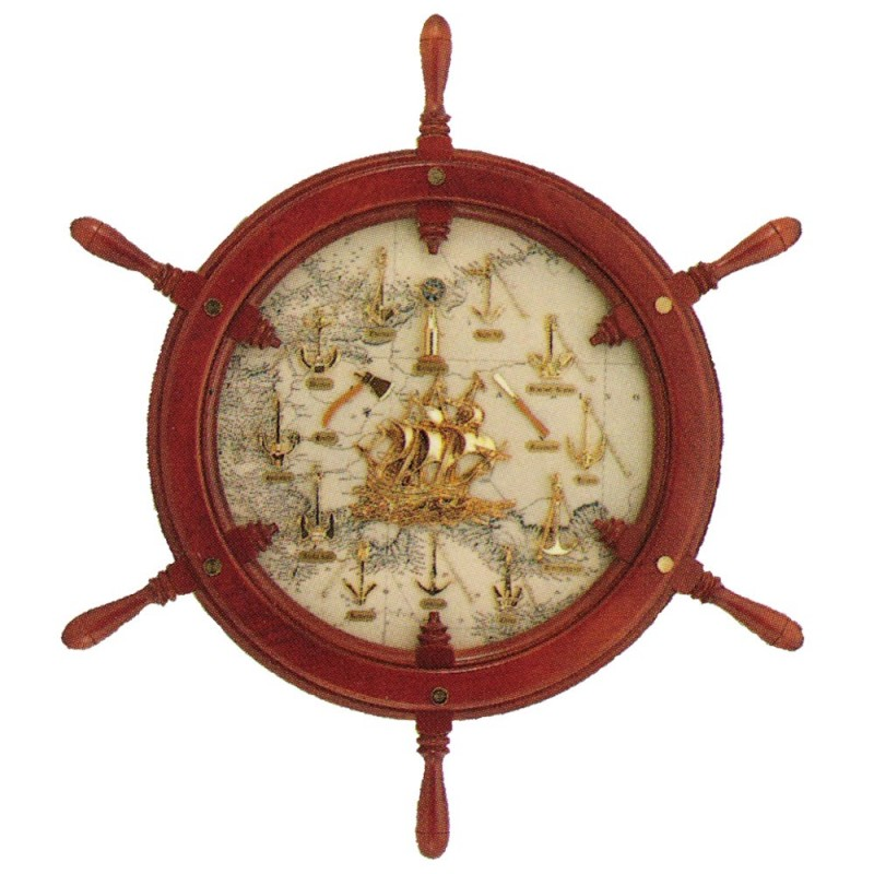 Rudder wheel 72cm with 9 anchors
