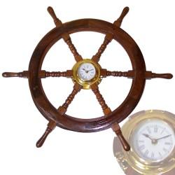 Rudder wheel of wood 77cm with brass watch 15cm