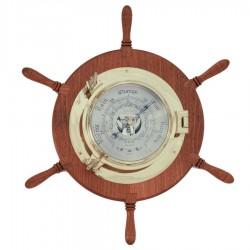 Barómetro ojo buey latón 22cm en rueda timón 48cm