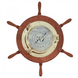 Brass barometer 22cm on wooden rudder wheel 48cm