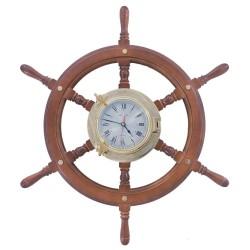 Rudder wheel of wood 72cm with brass porthole watch 22cm