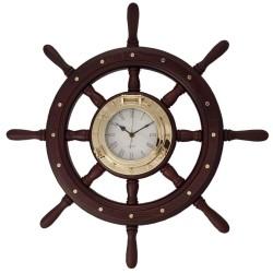 Rueda de timón madera 60cm con reloj portillo latón