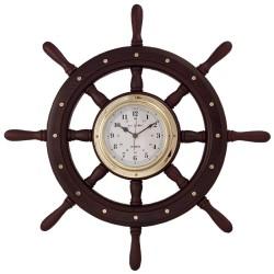 Rueda de timón madera 60cm con reloj de latón pulido