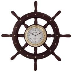 Wooden rudder wheel 60cm with brass 24 hours watch