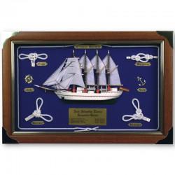 Knotboard with white knots and Elcano sailboat