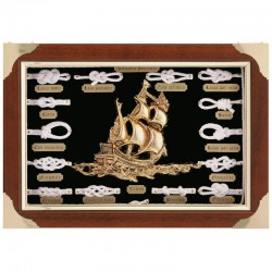 Knotboard with white knots and sailboat