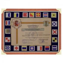 Cuadro con banderas y hueco para diploma