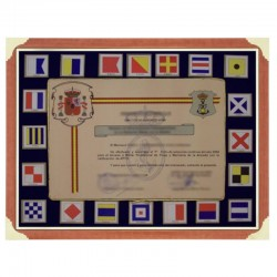 Frame showcase with nautic flags and gap for diploma